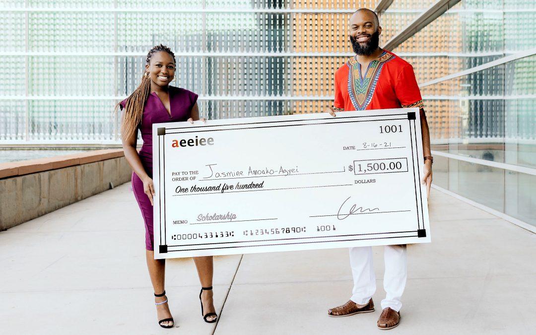 Aeeiee awards $1500 scholarship to intern, Jasmine Amoako-Agyei to launch new startup